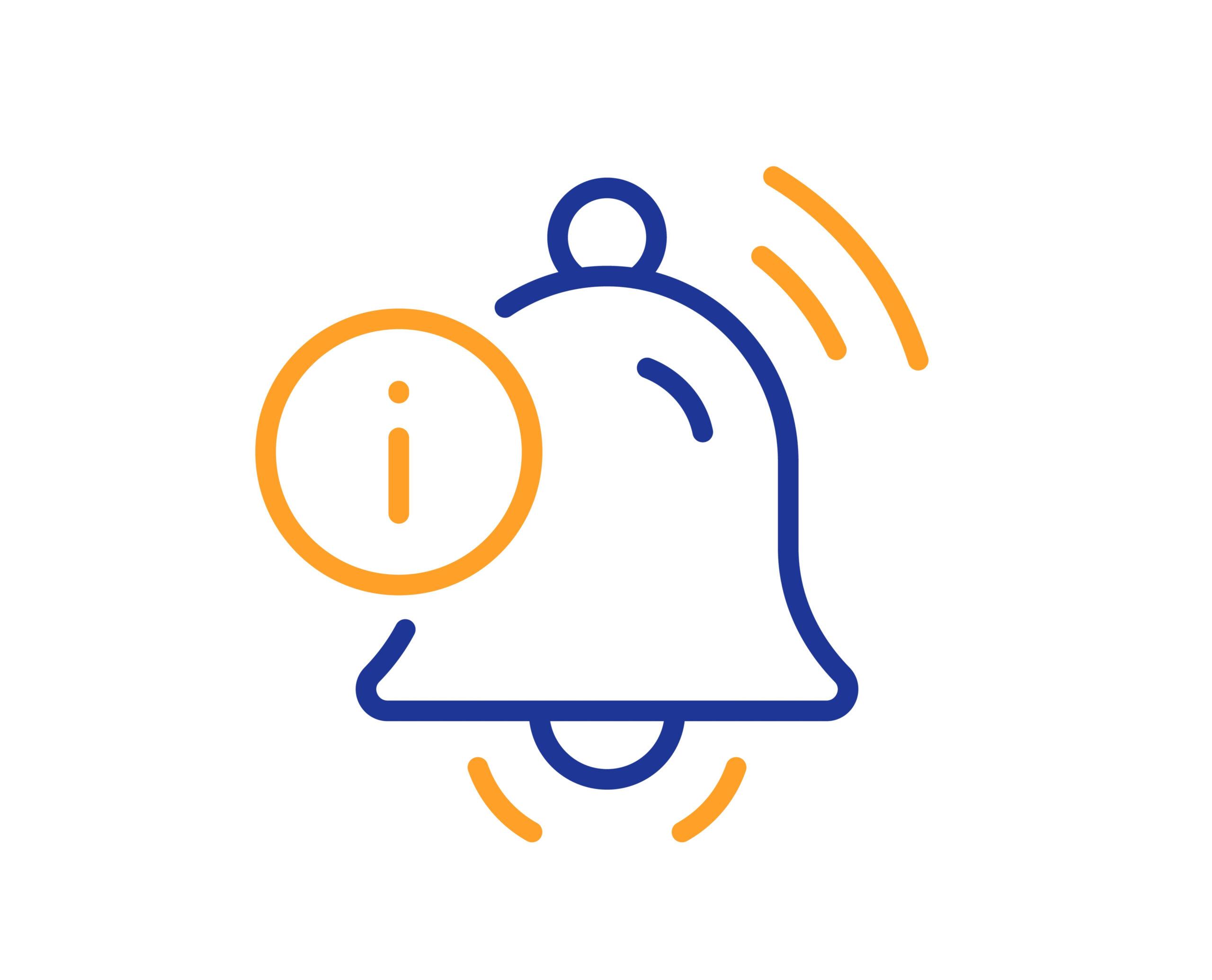 Information bell line icon. Alarm reminder info sign. Notification message symbol.